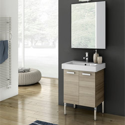 ACF - 23 Inch Bathroom Vanity Set - Set Includes:. Vanity Cabinet (2 Doors). High-end fitted ceramic sink. Wall mounted vanity mirror. Vanity Set Features . Vanity cabinet made of engineered wood. Cabinet features waterproof panels. Vanity cabinet in wenge, grey oak, larch canapa, glossy white finishes. Vanity cabinet features two easy-to-open doors. Chrome door handles elegantly completes vanity surface. Faucet not included. Perfect for modern bathrooms. Made and designed in Italy. Includes manufacturer 5 year warranty.