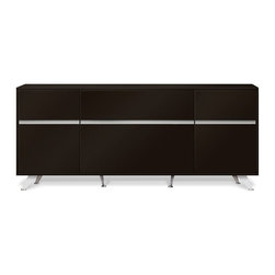"Jesper - Jesper - 300 Collection - Storage Credenza - Espresso - Designed with a decidedly urban flair, this intelligent Collection features three various sized desks, a 32"" optional return with a built-in two-drawer pedestal and an assortment of filing and storage cabinets. Available in Espresso or Walnut with silver or white accents, the sleek profile and reflective materials will spaciously open up any modern working space."
