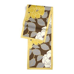 Brown & Yellow Modern Floral  Custom Table Runner - Set a table for a king! or just your family and friends!! with our gorgeous Tailored Table Runner. Solid edging adds a touch of refinement, perfectly setting off the center fabric. We love it in this stylized oversized floral in modern hues of mustard and lilac gray against chocolate brown.