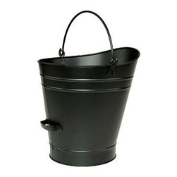 Achla - Large Coal Hod or Pellet Bucket in Powder Coa - Safely empty your fireplace ashes or stove pellets with this durable iron coal hood, featuring a double bottom that is designed to insulate against hot coals or burning embers. The bucket is made of iron in a durable black powder coat finish and has two handles for easy, mess free emptying. Color/Finish: Powder Coated Black. Material: Iron. 1/2 cubic foot capacity. Features double bottom for insulation from hot ashes and two handles.. 17 in. W x 18 in. H