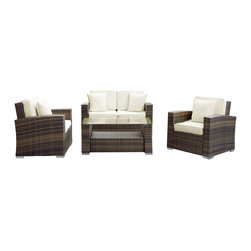 LexMod - Carmel Outdoor Wicker Patio 4 Piece Sofa Set in Brown with White Pillows - Sojourn to a conducive atmosphere of proper proportions with this sleek Carmel outdoor set. Vividly express yourself as you attune to your surroundings and develop positive rapport among friends and family. Appropriate times begin now with a modern touch of adventure.