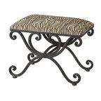 Animal Print Wrought Iron Bench - *Weathered, wrought iron scrolled bench with soft cushioned top in cream and olive linen-cotton blend.