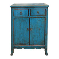 Golden Lotus - Nightstand Blue Chinese Ming Style End Table Side Cabinet - This is Chinese Ming style nightstand end table which is made of solid elm wood.  It comes with unusual blue color and it can be used as side cabinet.