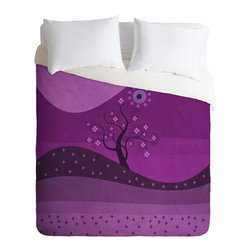 DENY Designs - Viviana Gonzalez Radiant Orchid Landscape Duvet Cover - Turn your basic, boring down comforter into the super stylish focal point of your bedroom. Our Luxe Duvet is made from a heavy-weight luxurious woven polyester with a 50% cotton/50% polyester cream bottom. It also includes a hidden zipper with interior corner ties to secure your comforter. it's comfy, fade-resistant, and custom printed for each and every customer.