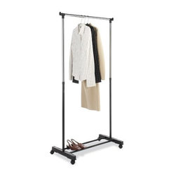 "Whitmor - Adjustable Garment Rack - Whitmor Adjustable Garment Rack - Dimensions: 17.75"" x 33"" x 66"" - Ebony/Chrome  This item cannot be shipped to APO/FPO addresses. Please accept our apologies."