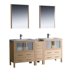 "Fresca - Torino 72"" Light Oak Double Sink Vanity w/ Side Cabinet & Cascata Chrome Faucet - Fresca is pleased to usher in a new age of customization with the introduction of its Torino line.  The frosted glass panels of the doors balance out the sleek and modern lines of Torino, making it fit perfectly in eithertown or country decor."