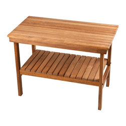 "Teakworks4u - Plantation Teak Rigid Leg Bench with Shelf - The Deluxe Rigid Bench offers you beauty and durability of natural teak wood. The bench seat is 18"" high, which makes this piece a perfect shower bench. This wooden bench boasts rigid legs and a removable shelf at the bottom of the unit. A versatile piece, it is great not only in the shower or steam room, but in any other room of your home. Easy to assemble with a screwdriver and pliers (not included). Proudly made in the U.S.A. of quality teak"