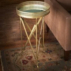Iron and Glass Accordion Side Table (India)   Overstock.com