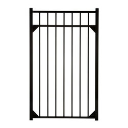 Specrail Cheshire Aluminum Walk Gate 3-Rail Panel - 4.5 ft. - The Specrail Cheshire Aluminum Walk Gate 3-Rail Panel - 4.5 ft. is a sophisticated and elegant gate that gives your property added protection. Crafted from high quality aluminum that won't rust and is maintenance free so you don't have to paint or stain it, this walk gate was made in the finest fabrication and finishing facilities in the industry. A fully welded design, including welded corner gussets, adds strength and durability to this beautiful gate that is designed to look like traditional wrought iron. Two self-closing hinges and a lad-lockable gravity latch are included. Made to be used with the DIY Fence Universal Fence Post and DIY Fence Asbury 543 Fence Panel system, you can use this gate as an entrance to your yard or even your pool area since it meets BOCA requirements in most areas.Additional FeaturesDesigned to be used with DIY Fence Universal Fence PostUse with the DIY Fence Asbury 543 Fence Panel SystemNot advisable to mix and match fencing brandsAll welded construction is durable and strongGorgeous and functional gateWelded corner gussets add strengthIncludes 2 self-closing hingesAlso includes pad-lockable gravity latchMeets BOCA pool code requirements in most areasGives you the beauty of traditional wrought ironEasy to installAbout SPECRAILSPECRAIL has been designing aluminum products of the highest quality for over 50 years. They offer the widest selection of any ornamental aluminum fencing company, and their extraordinary line includes 11 styles, 4 grades, and 5 colors. SPECRAIL brings beauty, strength, and a traditional wrought iron look to their maintenance-free aluminum fencing. Every piece they manufacture represents their strong commitment to meeting the needs of their customers and their dedication to quality.