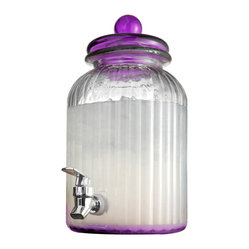 Jay Import Co - Springfield Glass Beverage Dispenser, Purple - As attractive as it is practical, this beverage dispenser will get plenty of use around your home. It holds a hefty 1.3 gallons and, with its vertical bands and richly colored lid, looks great doing it.