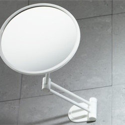 Gedy - Wall Mounted White 2.5x Magnifying Mirror - Round, extendable wall mounted magnifying mirror. 2.5x magnification. Made out of thermoplastic resins and nylon. Design in white finish. From the Gedy Mirror Collection.