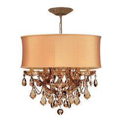 Crystorama - Crystorama 4415-AB-SHG-GTM Brentwood 6 Light Chandeliers in Antique Brass - This isn't your Grandmother's crystal. The Brentwood Collection from Crystorama offers a nice mix of traditional lighting designs with large tailored encompassing shades. Adding either the Harvest Gold or the Antique White shade to these best selling skus opens the door to possibilities for these designer friendly chandeliers. The Brentwood Collection has a touch of design flair that will work for your traditional or transitional home.