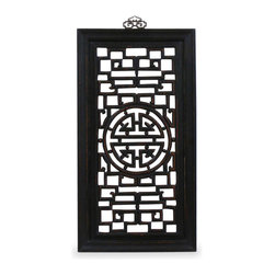 China Furniture and Arts - Elmwood Longevity Wall Plaque - The Chinese symbol of longevity is carved on the center of the panel. Constructed with Elmwood using traditional joinery methods. Perfect for modern home decorating needs. Hand applied distressed black finish. Brass hook included.