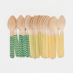 Gelato Spoons, Chevron - These disposable spoons made of biodegradable birch are perfect for outdoor parties on your deck.