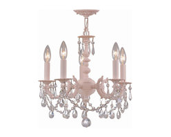 Crystorama Lighting Group - Paris Flea Market Blush Five-Light Chandelier with Clear Hand Cut Crystal, 15-In - - Paris Flea Market Collection offers casual yet elegant, whimsical and chic wall sconces and semi flush mounts. Crystorama Lighting Group - 5515-BH-CL-MWP