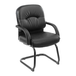 Boss - Mid Back Caressoft Guest Chair In Black - Beautifully upholstered with ultra soft and durable Caressoft upholstery. Executive Mid Back styling with extra lumbar support. Padded armrests covered with Caressoft upholstery. Matching guest chair for models (B7401) and (B7406).