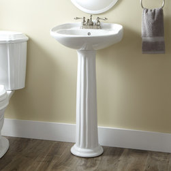 """Victorian Mini Pedestal Sink - This petite pedestal sink features a fluted, tapered pedestal column and an oval basin with a sculpted backsplash. Pair with a 4"""" centerset faucet to complement the look of your traditional bathroom."""