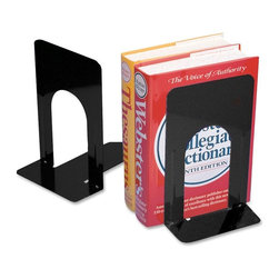 "CLI - CLI 9"" Nonskid Bookends - Steel - Black - Pair of bookends feature a heavy-gauge steel with reinforced ribbing. Smooth coined edges provide extra safety. Nonskid poly base prevents slipping and scratching."