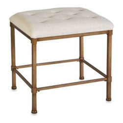 Hillsdale - Hillsdale Katherine Tufted Backless Vanity Stool - Stylish and functional, the Katherine vanity bench will add a beautiful decorative touch to your bedroom or bath. It's got a golden bronze finish, with a tufted neutral-colored seat.