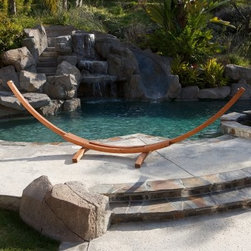 14 ft. Cypress Wood Arc Hammock Stand - Beautifully shaped into a crescent arc the 14 ft. Cypress Wood Arc Hammock Stand is crafted from cypress wood and is designed to hold up to 350 lbs. This strong and durable frame measures 168L x 60W x 48H inches. Hammock is sold separately.