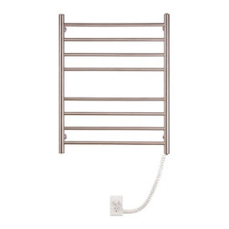 """Myson - Pearl 8 Bar Wall Mount Electric Towel Warmer - Features: -Towel warmer. -Constructions of stainless steel. -Wall mount. -ETL approved, portable. -Supplied with 4 easy to install wall brackets. -Equipped with a safe, reliable and very energy efficient heating element. -Illuminated on / off switch. -Heavy duty cord. -Provides 2 year warranty against any manufacturing defects. Specifications: -Power: 150 Watts. -Horizontal rod diameter: 0.75"""". -Vertical rod diameter: 1.25"""". -Cord extends up to: 48"""". -Overall dimensions: 30"""" H x 24"""" W x 4.38"""" D."""