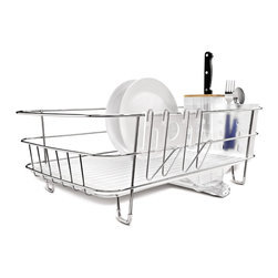 simplehuman - simplehuman Slim Wire Frame Dishrack - simplehuman dishracks have an innovative drainage system that keeps water flowing into the sink,not onto the countertop. The space-efficient slim shape helps make the most of limited countertop space.
