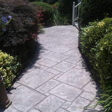 Contemporary Landscape Stamped Concrete Walkway