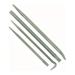 "Mayhew Tools - 76284 4 Piece Pry Bar Set - 4-PC MAYHEW SELECT(TM) PRY BAR SET  Set contains 1 each of:  70219 7/8"" x 18"" cold chisel  75000 14"" line-up pry bar  75002 20"" line-up pry bar  and 75101 16"" rolling H-D pry bar  Shot-blasted finish for rust protection        76284 4 PC PRY BAR SET"