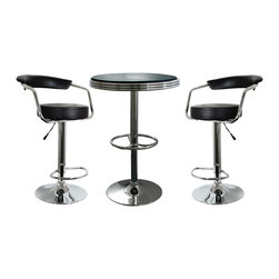 Buffalo Tools - AmeriHome 3 Piece Soda Fountain Style Bar Set - Black - 3 Piece Soda Fountain Style Bar Set - Black by AmeriHome The AmeriHome 3 Piece Adjustable Height Bar Set includes two adjustable height bar stools and one soda fountain style adjustable height bar table.  The polished chrome base and black vinyl seats are reminiscent of the days of diners and drive-ins. Add a hint of classic retro design to your kitchen, bar, game room, basement, or shop. The 3 Piece Adjustable Height Bar Set is comfortable for kids and adults to sit together. The bar stools have a large 13.5 inch wide, vinyl padded, 360 degree swivel seat, vinyl padded backrest and a built in footrest. The Adjustable Height Bar Table measures 25 inches in diameter, with a black textured vinyl covering on the tabletop that makes wiping up spills easy.  Includes 1 soda fountain style bar height table and 2 adjustable counter height bar stools Makes a great addition to your kitchen, bar, game room, or shop Classic retro style Bar stool specs: adjustable height from 25 to 33.5 in., maximum seat back height 42.25 in., built in footrest, 13.5 in. , vinyl padded seat with padded back support, 330 lbs. weight capacity each Bar table specs: 25 in. diameter table top with textured vinyl covering, adjustable height from 26.5 to 36.5 in., 200 lbs. weight capacity