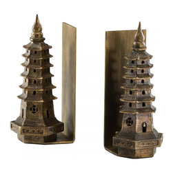 """Joshua Marshal - Gold Leaf 10"""" Pagoda Bookends - Gold Leaf 10"""" Pagoda Bookends"""
