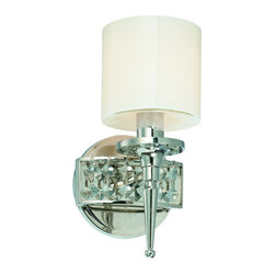 Troy Lighting - Troy Lighting B1921 Collins 1 Light Bathroom Wall Sconce - Dare to dazzle with this 1-Light Bathroom Wall Sconce from Troy Lighting's Collins collection. With its shimmering Polished Nickel finish and Opal Glass shade, it will take your interior to the next level. When installed as a pair (to mount at eye level by the bathroom mirror), it offers balanced light, minimal shadows and all-out glamour. Accommodates one 60-watt candelabra base bulb.Features: