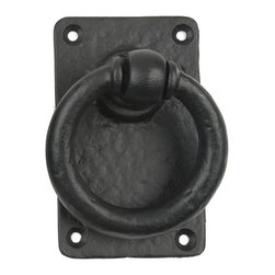Lynn Cove - Decorative Black Ring Pull Handles - Made of rust-resistant aluminum, this dummy ring handle coordinates with other decorative hardware. For gates,  doors, and carriage house doors where you'd like to have dummy handles, order two (sold as each).