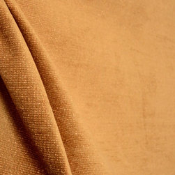 Cole Yam Butterscotch Orange Light Brown Upholstery Fabric - Light brown chenille threads are woven together with butterscotch orange freize threads to form the simple texture in Cole Yam.  This fabric has a light backing to it which makes it perfect for upholstery.  Due its soft hand, other good uses include pillows, bedding and window treatments.