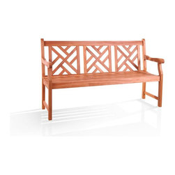 """Vifah - Atlantic Bench in Eucalyptus Shorea Hardwood - Made of highest grade FSC High Density Eucalyptus (Shorea) hardwood. Wooden bench is expertly kiln-dried and extremely durable for outdoor/indoor use. Mold, mildew, fungi, termites, rot and decay-resistant. Also environmentally-friendly and harvested from protected forests. 23 D in. L x 61 in. W x 37 in. H (55 lbs.)Design: The Atlantic Graden Bench will bring comfortable and durable seating to your garden or landscape. Crafted from FSC High Density Eucalyptus (Shorea), this outdoor bench can withstand the trials of sun and rain as it sits on your porch or patio. The seat consists of three sections of contoured slats. The backrest has a dignified style with its decorative cut-out design. The uniquely curved and carved armrests capture your attention and keep you comfortable as you relax in the beauty of the outdoors. Material: High Density Eucalyptus (or also known as Shorea in our line) is the premium grade of solid """"Eucalyptus Gradis"""" hardwood, grown in 100 % well managed forests in Brazil, certified by the FSC (Forest Stewardship Council). There is little difference between High Density Eucalyptus (Shorea) and Teak when broken down to their core essence. The biggest attribute of High Density Eucalyptus (Shorea) is undoubtedly the strength of the timber. It's renowned for its excellent resistance to every day wear and tear. It is extremely durable and tightly grained to produce a desirable density. It remains unaffected by all variations in weather, especially its resistance to damp conditions makes itself extremely competent at combating insect attacks and decay."""
