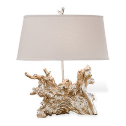Kathy Kuo Home - Rehoboth Coastal Beach Silver Table Lamp - Some days you're a tree and some days you're a tree root. It's cool to be a tree root when it's the base of this utra chic lamp. The silver leaf finish adds a dramatic tone to the linen hardback ivory shade. It will turn heads and elicit comments.