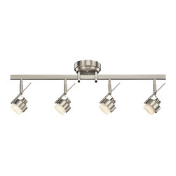 Kichler - Kichler 4-Light LED Rail Light - Brushed Nickel - Four Light LED Rail Light Create drama and light throughout your space with this versatile, energy efficient design pro LED 4 light rail light in brushed nickel with satin-etched glass. This high-tech light accommodate installation on the wall or ceiling and is fully dimmable with most standard electric low-voltage dimmer switches. 42. 5 inch length. Width 5 inches. Height 9 inches.