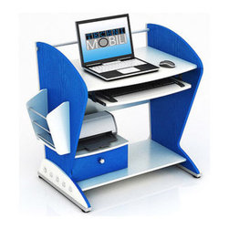 Techni Mobili Bristol Teen Computer Desk, Blue And White - This little desk is sleek and futuristic — it reminds me of a rocket. It has plenty of storage space, and it's under $100!