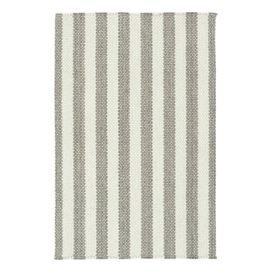 Hampton rug in Ash Stripe - The crisp basketweave look of Capel Rugs' new Hampton woven rug is a standout texture and is reminiscent of menswear-inspired furnishing fabrics.  Capel's Hampton Collection area rugs are woven with sturdy wool blend yarns.  The rich color palette ranges from tonal neutrals to primary brights.  Hampton area rugs are offered in a variety of rectangular shapes and sizes.