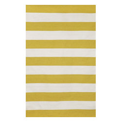 """Trans-Ocean - Rugby Stripe Yellow 8'3"""" x 11'6"""" Indoor/Outdoor Flatweave Rug - Simple stripe patterns combine with sophisticated blended colors in this Indoor/Outdoor flatweave. 100% Polyester, this flat weave reversible rug is easy to care for and great for any indoor outdoor space. Soft Polyester is tightly hand woven by artisans in India with great attention paid to detail such as the serging to create this durable yet attractive Indoor Outdoor rug."""