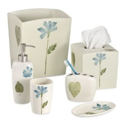 Croscill - Croscill Spa Leaf Waste Basket - A floral and leaf motif in subtle shades of blue and green adds a simple, sophisticated touch to your bathroom. Coordinate with the Spa Leaf bath towels, bath rug and shower curtain for a finished look.