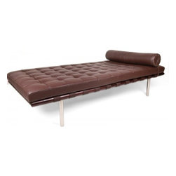Serenity Living Stores - Barcelona Daybed Reproduction - Our Barcelona Daybed Reproduction has been inspired by Mies van der rohe and Lilly Reich's designs created in the late 1920's to early 1930's. Made from beautiful wood veneers, the frame adds to the beauty of this contemporary furniture piece which is further enveloped in buttery soft leather cushion. The Barcelona Daybed Reproduction has been produced with a modern flare that is both elegant, stylish and sophisticated.                                                                                                                                                                                                                                                                                                                                                                                                                                                                                                                                                                 ? Product is available in 100% Full Grain Italian Leather or 100% Full Grain Aniline Leather
