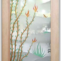 """Interior Glass Doors - Ocotillo & Roadrunner 3D in Color - CUSTOMIZE YOUR INTERIOR GLASS DOOR!  Interior glass doors or glass door inserts.  .Block the view, but brighten the look with a beautiful interior glass door featuring a custom frosted glass design by Sans Soucie!  ship for just $99 to most states, $159 to some East coast regions, custom packed and fully insured with a 1-4 day transit time.  Available any size, as interior door glass insert only or pre-installed in an interior door frame, with 8 wood types available.  ETA will vary 3-8 weeks depending on glass & door type........  Select from dozens of sandblast etched obscure glass designs!  Sans Soucie creates their interior glass door designs thru sandblasting the glass in different ways which create not only different levels of privacy, but different levels in price.  Bathroom doors, laundry room doors and glass pantry doors with frosted glass designs by Sans Soucie become the conversation piece of any room.   Choose from the highest quality and largest selection of frosted decorative glass interior doors available anywhere!   The """"same design, done different"""" - with no limit to design, there's something for every decor, regardless of style.  Inside our fun, easy to use online Glass and Door Designer at sanssoucie.com, you'll get instant pricing on everything as YOU customize your door and the glass, just the way YOU want it, to compliment and coordinate with your decor.   When you're all finished designing, you can place your order right there online!  Glass and doors ship worldwide, custom packed in-house, fully insured via UPS Freight.   Glass is sandblast frosted or etched and bathroom door designs are available in 3 effects:   Solid frost, 2D surface etched or 3D carved. Visit our site to learn more!"""