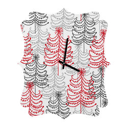 DENY Designs - DENY Designs Rachael Taylor Doodle Trees Quatrefoil Clock - Tick tock, tick tock. When time feels like it's standing still, check out DENY's Quatrefoil Clock. Paired with the art of your choice, this Quatrefoil Clock is just what you need to make the day go by just a little bit faster.