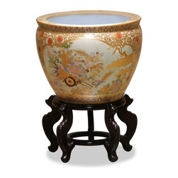 China Furniture and Arts - 16in Hand Painted Satsuma Design Fishbowl - Artists in China elaborately paint this beautiful glazed porcelain pot in gold Satsuma with traditional Chinese beauty design. Used as a cachepot, it gives a plant a decorative place to call home. The interior is an underwater scene of gold fish swimming in circular along the edge of the bowl. Stand sold separately.