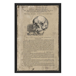 The Artwork Factory - Prima Noni Capitis Figura Print - Bring antique charm to your wall with this wood-framed print of a pioneering treatise on human anatomy, written in Latin and with the depiction of a woodcut skull. Ready to hang and printed with 12-color pigment ink on high resolution, acid-free, fade-resistant paper, this piece comes protected behind a sheet of glass for lasting quality.