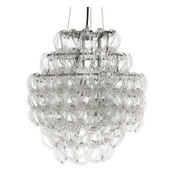 NUEVO - Letiza Pendant Lamp - The triple-tiered hooked crystal chandelier is absolutely stunning whether making a grand entrance in a foyer or illuminating your family at dinner time.