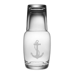 Susquehanna Glass - Anchor Night Bottle Set, 32oz - Each 32 ounce carafe is sand etched with an anchor design. The glass conveniently doubles as the lid. Perfect for the office, guest room, or bedside table. Dishwasher safe. Decorated in the USA.