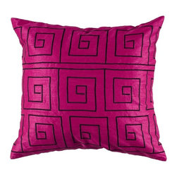 Silver Nest - Maize Pink Down Pillow - Poly Slub Fabric. Embroidered Details. Pillow Cover with Hidden Zipper. Includes Down Pillow insert. Priced individually, must be sold in set of 2.