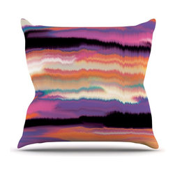 """KESS InHouse - Nina May """"Artika Sunset"""" Purple Orange Throw Pillow, Outdoor, 18""""x18"""" - Decorate your backyard, patio or even take it on a picnic with the Kess Inhouse outdoor throw pillow! Complete your backyard by adding unique artwork, patterns, illustrations and colors! Be the envy of your neighbors and friends with this long lasting outdoor artistic and innovative pillow. These pillows are printed on both sides for added pizzazz!"""