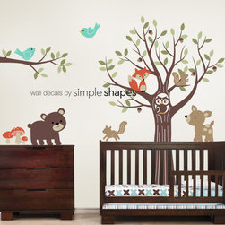 Tree with Forest Friends Decal Set - Kid's Nursery Room Wall Sticker - Simple Shapes
